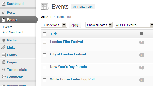 Adding Event posts is quick and simple