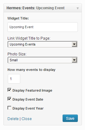 Custom Hermes widget to display events in the sidebar