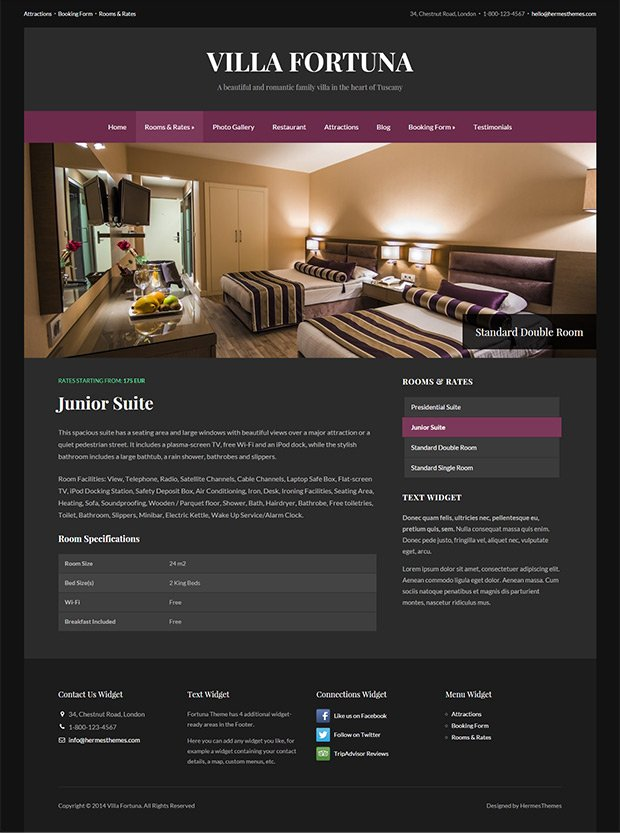 Screenshot of the Room Template in Fortuna WordPress Theme
