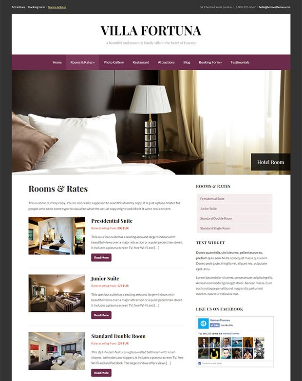Screenshot of the Rooms Template in Fortuna WordPress Theme