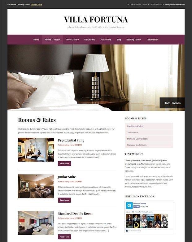 Screenshot of the Rooms Template in Fortuna WordPress Theme