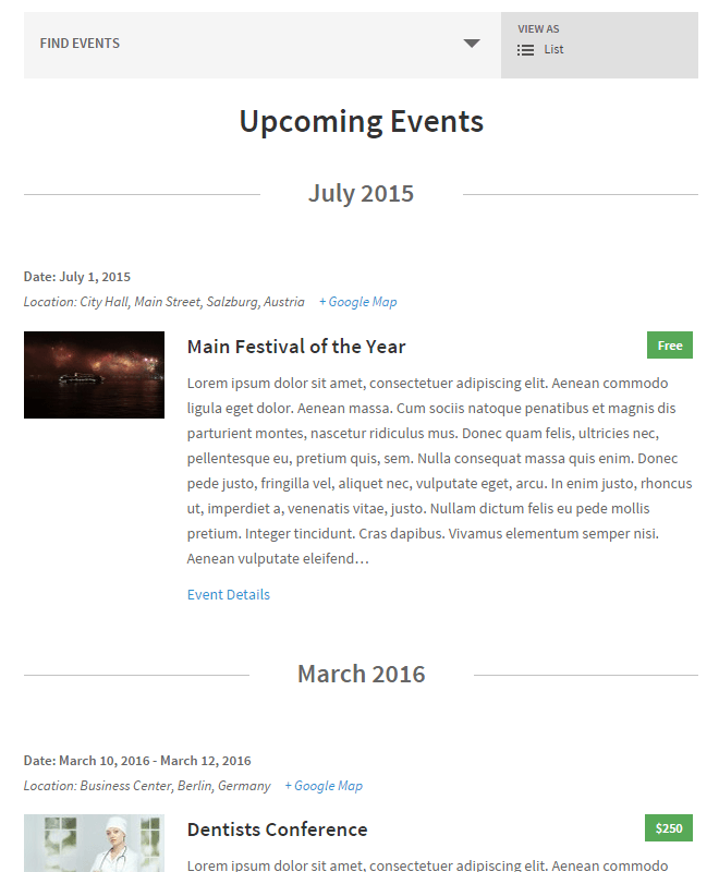 Events List Page Template (After)