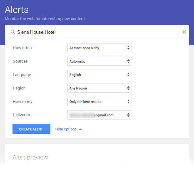 Google Alerts: Siena House Hotel Alert