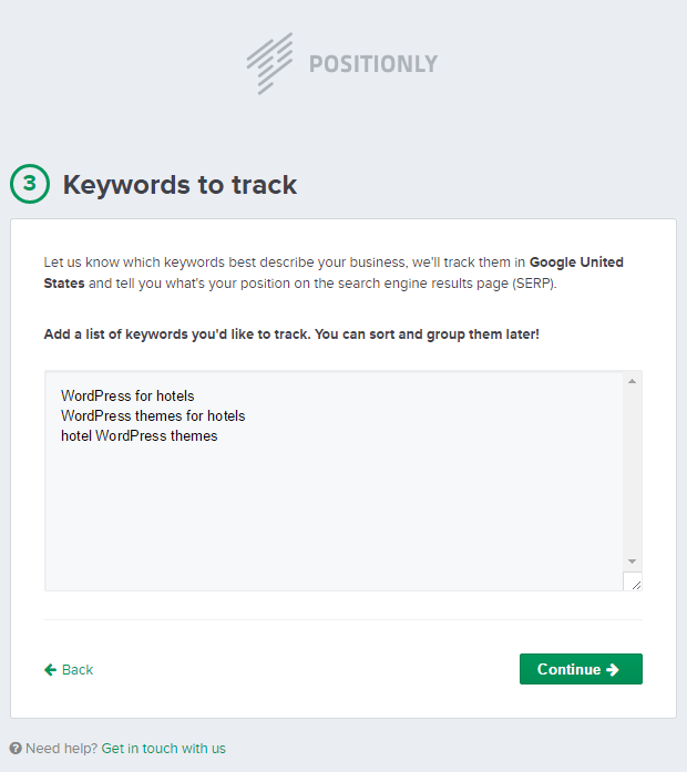 Positionly Sign-Up Screen: Step 3: Keywords
