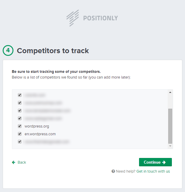 Positionly Sign-Up Screen: Step 4: Competitors