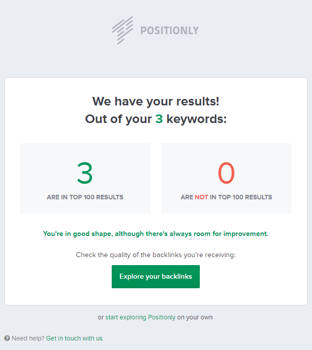 The results of the first keyword check-up.