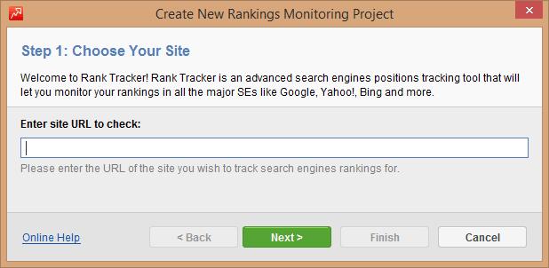 Rank Tracker: New Project Screen