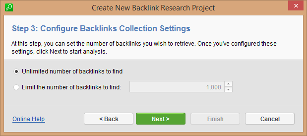 Step 3: Find Limited/Unlimited Number of Backlinks