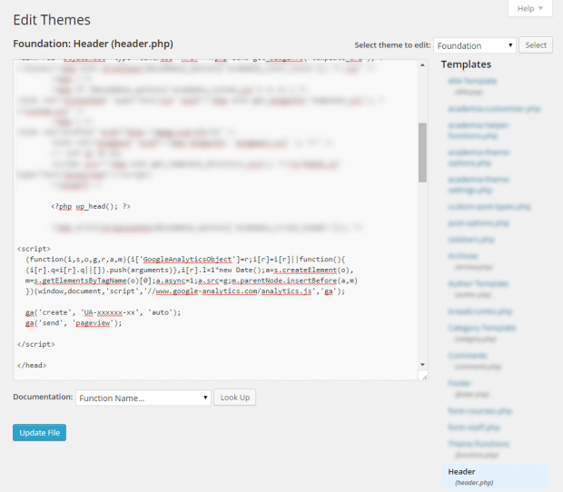 Add Google Analytics to WordPress by Editing header.php