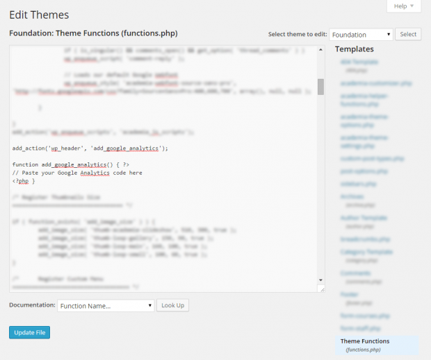 Add Google Analytics to WordPress by Editing header.php