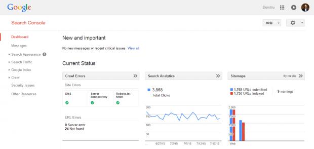 Google Search Console Site Dashboard