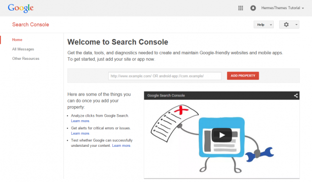 Getting Started with Google Search Console: Home Screen