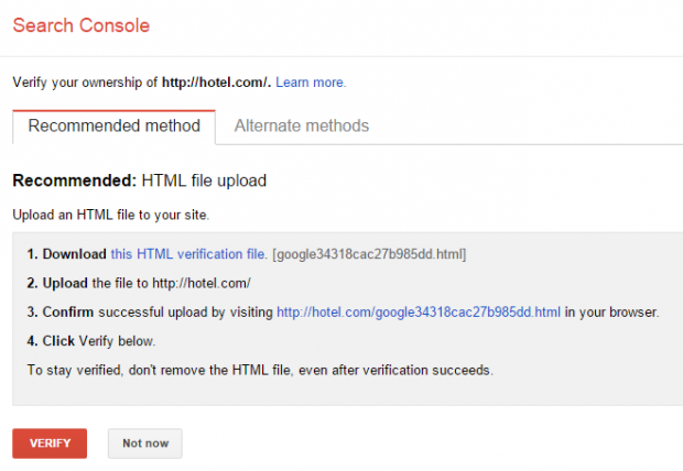 Search Console: Verify Website Ownership Screen
