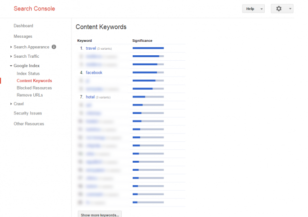 Search Console - Google Index - Content Keywords