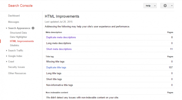 Search Console - Search Appearance - HTML Improvements