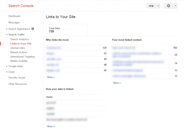 Search Console - Search Traffic - Links to Your Site