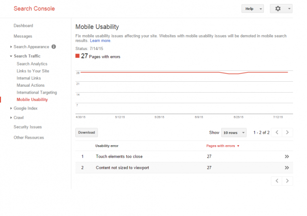 Search Console - Search Traffic - Mobile Usability