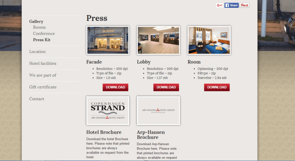 Example of a hotel press kit: Copenhagen Strand (Source: http://www.copenhagenstrand.com/)