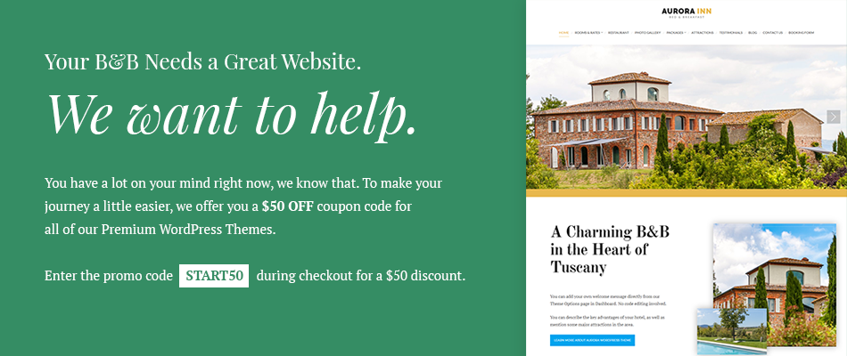 how to create a bed and breakfast website
