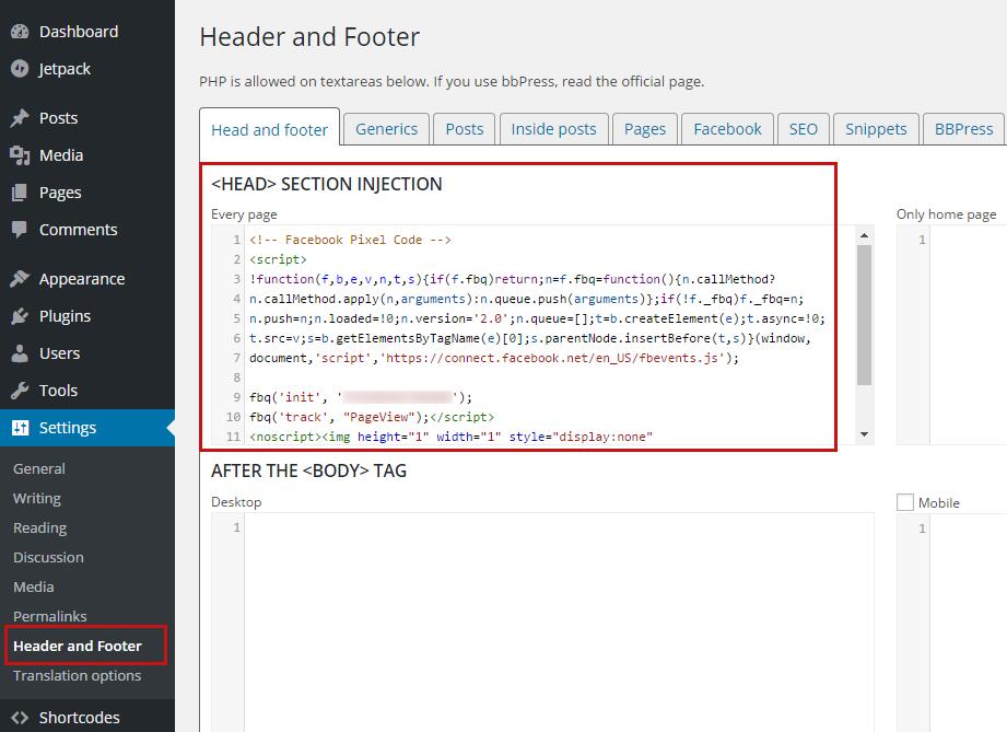 how to add facebook pixel code wordpress
