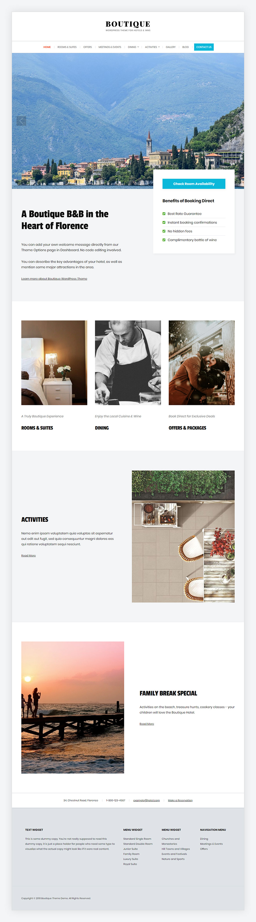 Screenshot of the Boutique Hotel WordPress Theme